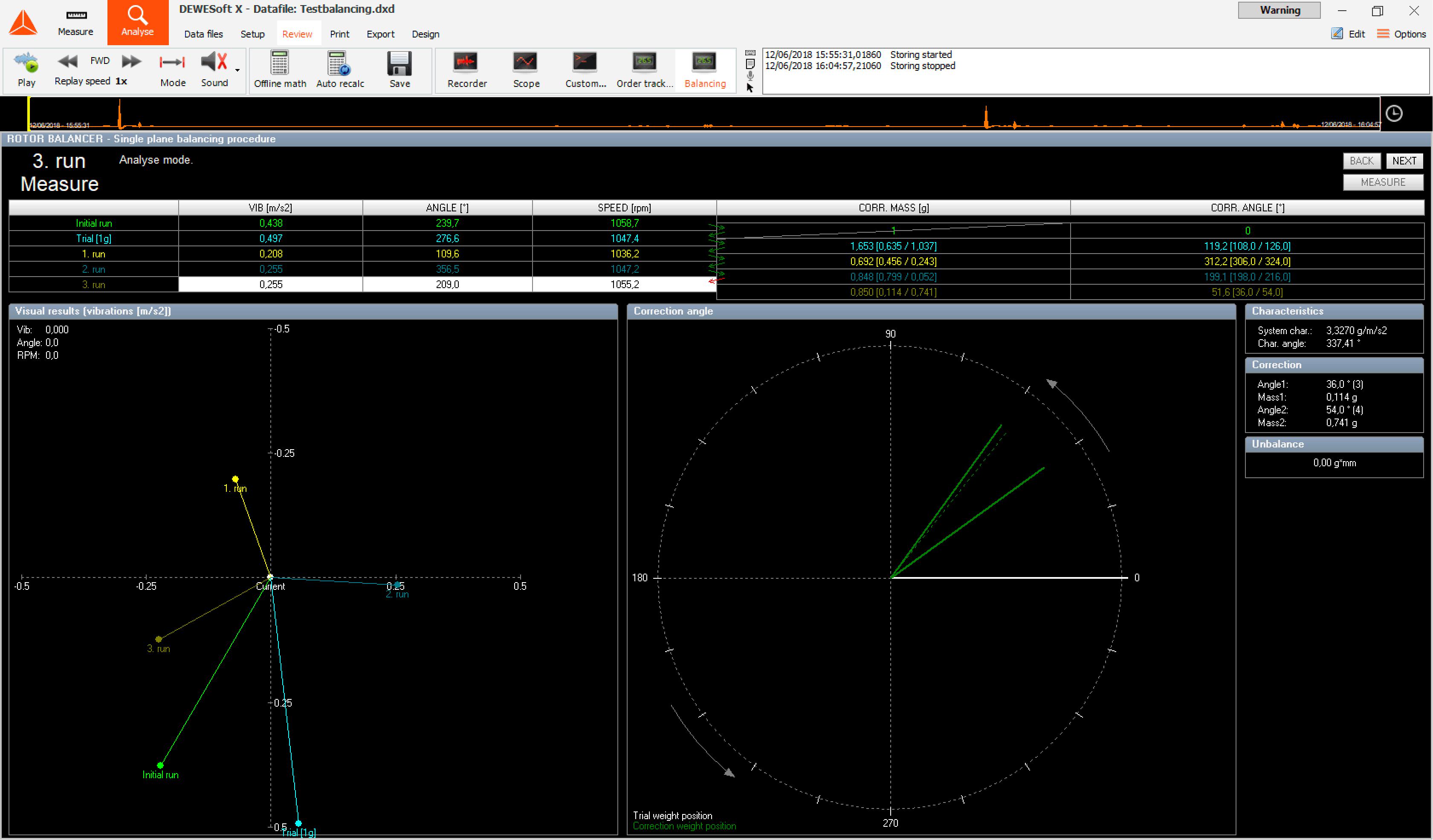 Rotor Balancing Software Screen by Dewesoft